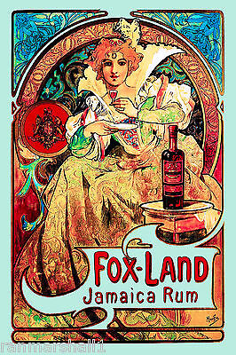 Fox Land Jamaica Rum French Nouveau Caribbean Travel Poster Advertisement