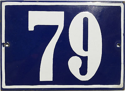 Vintage French/portuguese Blue Enamel Porcelain Door House Number Sign Plate 79