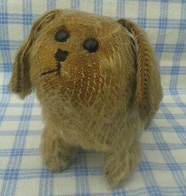 c 1920/30's Vintage mohair fat and chunky little dog. Boot button eyes.