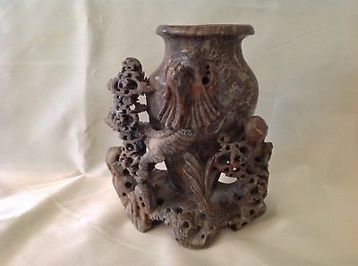1930's Sm Carved Asian Stone Vase w/Dragon; in Marbleized Gray, Great