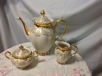 1940 Bareuther, Bavaria Vintage 3pc Coffee Set in Cream/Gold; Perfect Beauty