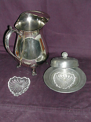 LEONARD 50's Silverplate PITCHER & PEWTER Round BUTTER DISH w/2 HEART DISHES EUC