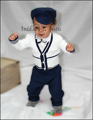 Baby Boy Christening Baptism Formal Smart Suit Outfit Hat Cardigan White Navy