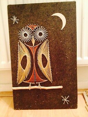 Vintage String Art Picture Of An Owl Retro Pin Art Nail 3D Wallhanging