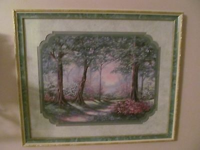 HOME INTERIOR / HOMCO PICTURE WITH GOLD AND GREEN FRAME TREES AND FLOWERS.