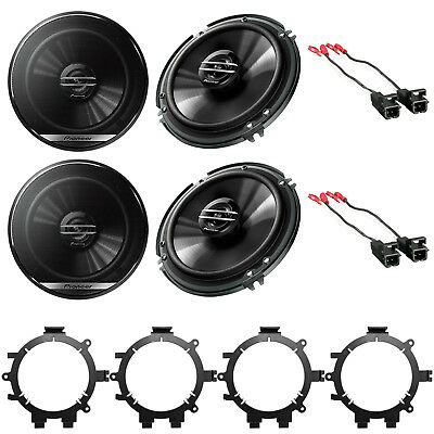"Pioneer 6.5"" Car Audio Stereo Front & Rear Speakers W/Mounting Bracket & Harness"