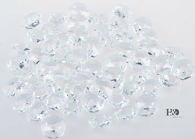 50 PCS Lot Clear Crystal Glass Octagon Beads Chandelier Part Wedding Decor 14MM