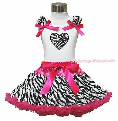 Valentine White Top Hot Pink Zebra Heart Pettiskirt Baby Girl Cloth Outfit 1-8Y