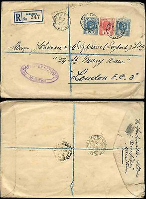 MAURITIUS 1941 REGISTERED CENSORED to GB...CUREPIPE