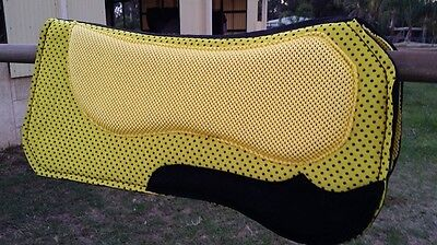 Saddle pad half breed hot pink yellow gold horse suede inserts shaped wither
