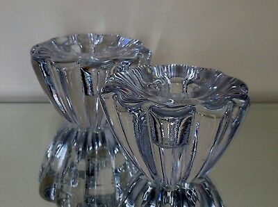 "Orrefors Sweden - Stella Crystal Candleholder Set- 2 1/4"" Tall -  Flower Design"