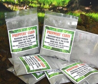 50g MAGNALIUM  FOR FIRE STARTING - SPECIAL GRAIN SIZE FORMULA - BUSHCRAFT