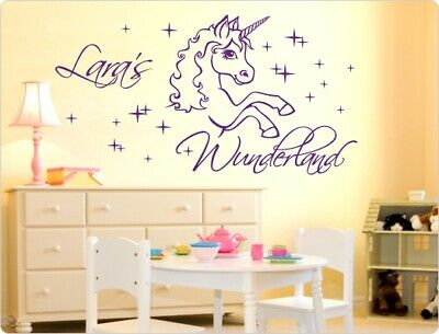 wandtattoo einhorn elfe mit namen sternchen sterne. Black Bedroom Furniture Sets. Home Design Ideas