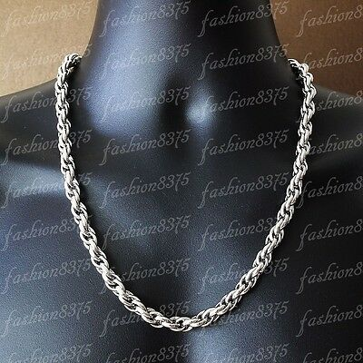 9mm Strong Mens Silver 316L Stainless Steel Rope Chain Necklace Bracelet Choose