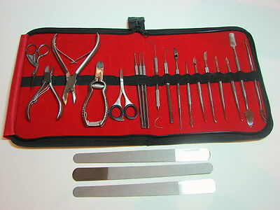 Chiropody Podiatry Nail Clippers Nippers Cutters Podiatry Instruments Kit 22 Pcs