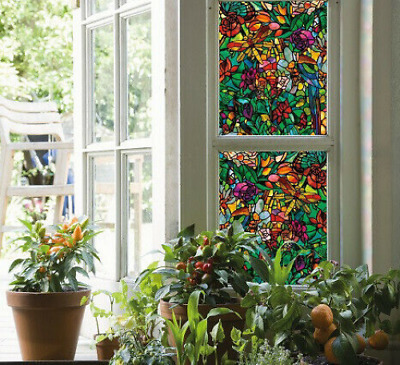 DC FIX STATIC CLING FLOWERS RED GREEN STAINED GLASS WINDOW EFFECT STICKY BACK