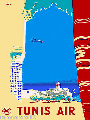 Tunis by Air Tunisia Tunisie Africa African Travel Poster Advertisement Print