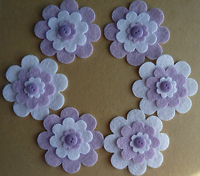 Felt Flower & Button Layered Embellishments Die Cut Shapes