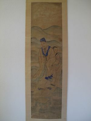 Fine 19th ~ 20th Century Large Chinese Hand Painting of Nobleman & Woman Scroll