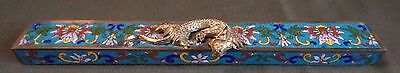 Very Fine Early 1900 Chinese Cloisonne Paper Weight with Golden Dragon
