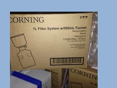 Case (12) Corning 431205 1L 0.22 CA filter system with 500 ml funnel