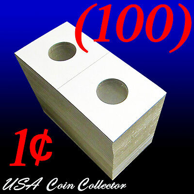 (100) Penny Size 2x2 Mylar Cardboard Coin Flips for Storage | 1 Cent Holder