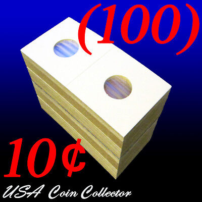 (100) Dime Size 2x2 Mylar Cardboard Coin Flip for Storage | 10 Cent Paper Holder