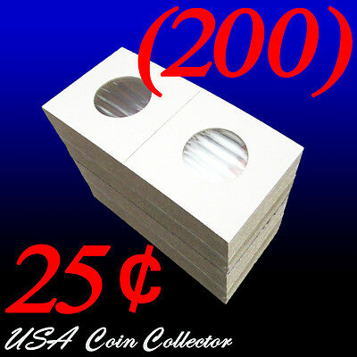 (200) Quarter Size 2x2 Mylar Cardboard Coin Flips for Storage | 25 Cent Holder