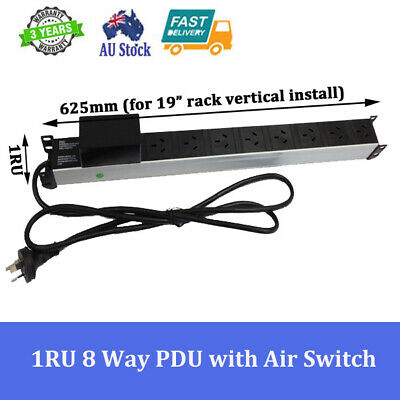 "8 Way / 8 Outlet Power Rail Pdu With Air Switch For 19"" Server Cabinet Rack"