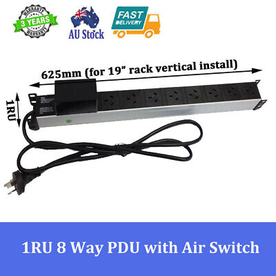 """8 Way / 8 Outlets Power Rail Pdu With Air Switch For 19"""" Server Cabinet Rack"""