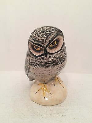Babbacombe Pottery Black White Owl Figurine Ornament Fully Stamped UK Hand Made
