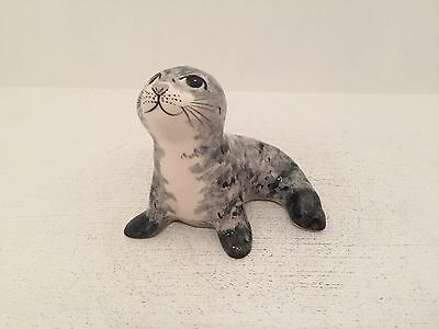 Babbacombe Pottery Sitting Seal Figurine Ornament Fully Stamped UK Hand Made