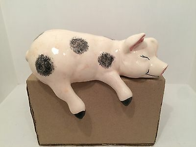 Babbacombe Pottery Shelf Pig Figurine Ornament Fully Stamped UK Hand Made