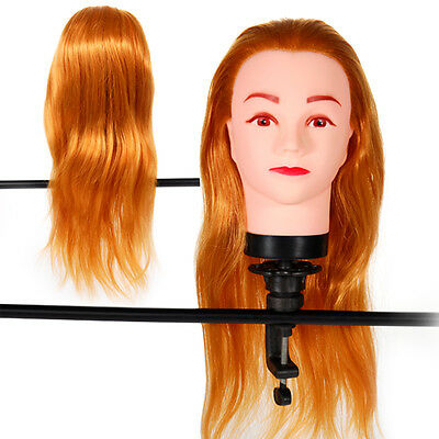 Tete a coiffer exercice cheveux long blond coiffure femme Mannequin + support