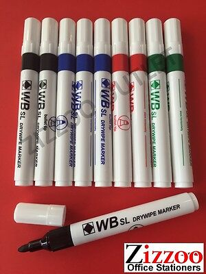 10 X Drywipe Whiteboard Marker Pens - Colour Choice - Great Deal + Free P&p!