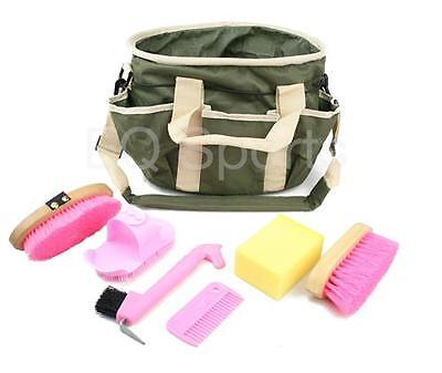 FAST SHIPPING Kids Grooming Kit Bag  with Accessories  KHAKHI WITH PINK ACC