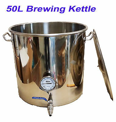 50L Stainless Steel HomeBrew All Grain Mash Brewing Kettle Brew-in-Bag Kettle