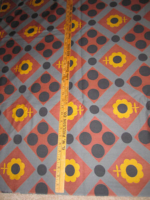 "7 Yards Vintage Cotton Fabric Sunflower Large Scale 37"" Wide"