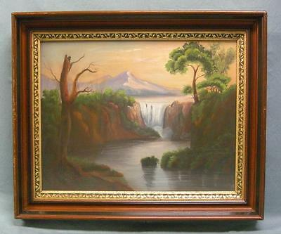 Antique Pastel Painting in Deep Walnut Frame Rural Mountain Landscape Unsigned
