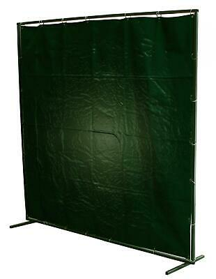 6 x 6 Green Welding PVC Curtain & Extendable Frame c/w Rings