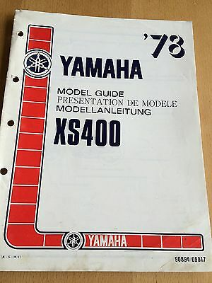 Genuine Yamaha XS400 1978 Model Guide Information Manual 90894-09017