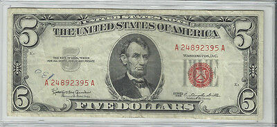 Series  1963~~$5 U S Note~~Xf~~Red Seal~~Better Date