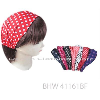 6 pcs Women Turban Twist HeadWrap Headband Workout Yoga Bandana Hair Band Dots