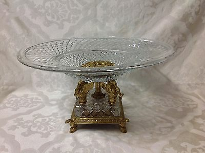 1940 Cut Crystal/Brass Renaissance Rev Lg Ornate Centerpiece/Compote w/Griffins