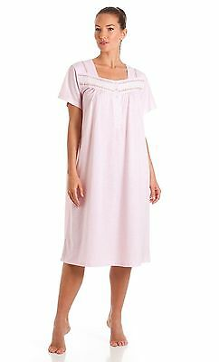 Ladies nightdress nightwear Short sleeved poly cotton, two colours, button neck