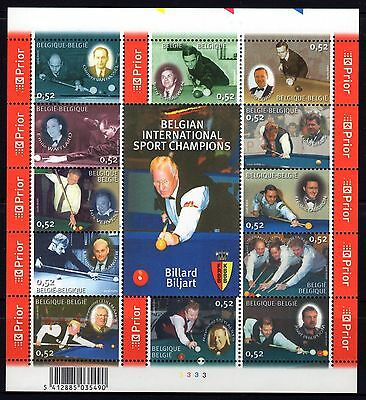 Belgium 2006 Champion Billiard PlayersSheetlet 12 MNH