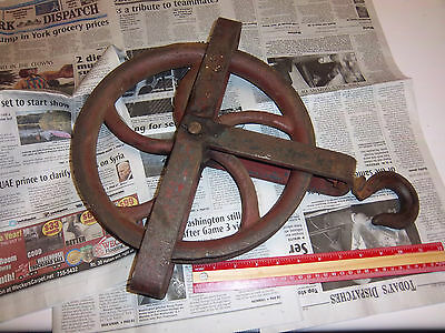 """Vintage Durco 12"""" Cast Iron Pulley Original Paint Industrial or Farm, Very Heavy"""