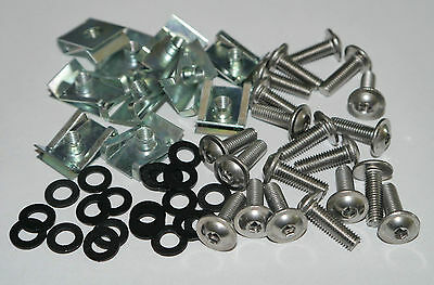 MOTORCYCLE MOTORBIKE KIT SCREWS FAIRING BOLTS + CLIPS M5 – 5x16mm, 50 PARTS!!