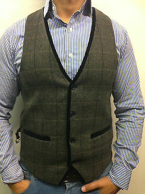 mens designer waistcoats Tweed herringbone with velvet trim MARC DARCY