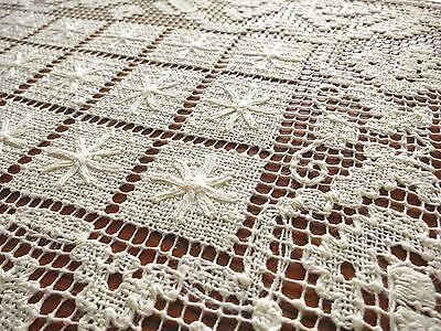 PRETTY Vintage Handmade ITALIAN Knotted Filet Lace 6 PLACEMATS Clean Ecru STARS
